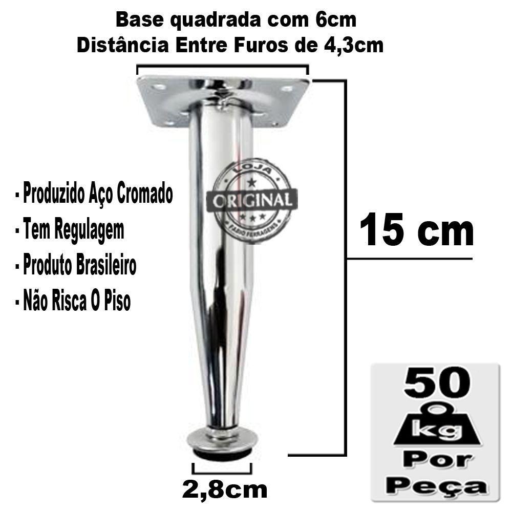 10 Peças - Pé Cônico Em Aço Cromado de 15cm Para Móveis