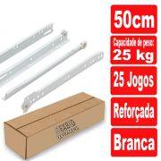 Caixa De Corrediça Para Gaveta Branca de 500mm / 50cm - 25 Pares