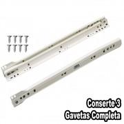 Corrediça Branca Para Gaveta de 45cm - 3 Pares