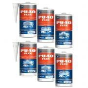 Kit 6 Peças - Silicone Selante Cola Pu 40 Flex Poliuretano Cinza 400 Gramas