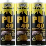 Kit C/3 Tubos - Selante Cola Pu 40 Preto 400 Gramas