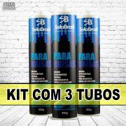 Kit Com 3 Tubos - Cola Pu Preto Para Parabrisa Vidro Automotivo De 400 Gramas (Ônibus, Carro E Caminhões)