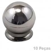 Puxador Plastico Para Moveis Bola Grande Cromado - 10 Peças