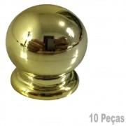 Puxador Plastico Para Moveis Bola Pequena Dourada - 10 Peças