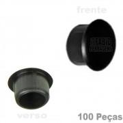 Tapa Furo Plástico Preto De 8mm Para Móveis - 100 Peças