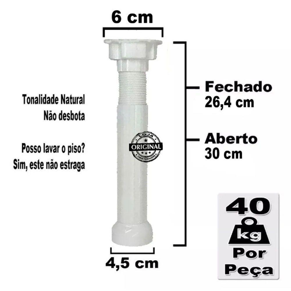 2 Peças - Pé Para Armario / Gabinete Branco  Com Regulagem De 26,4 a 30 Cm Com Parafuso