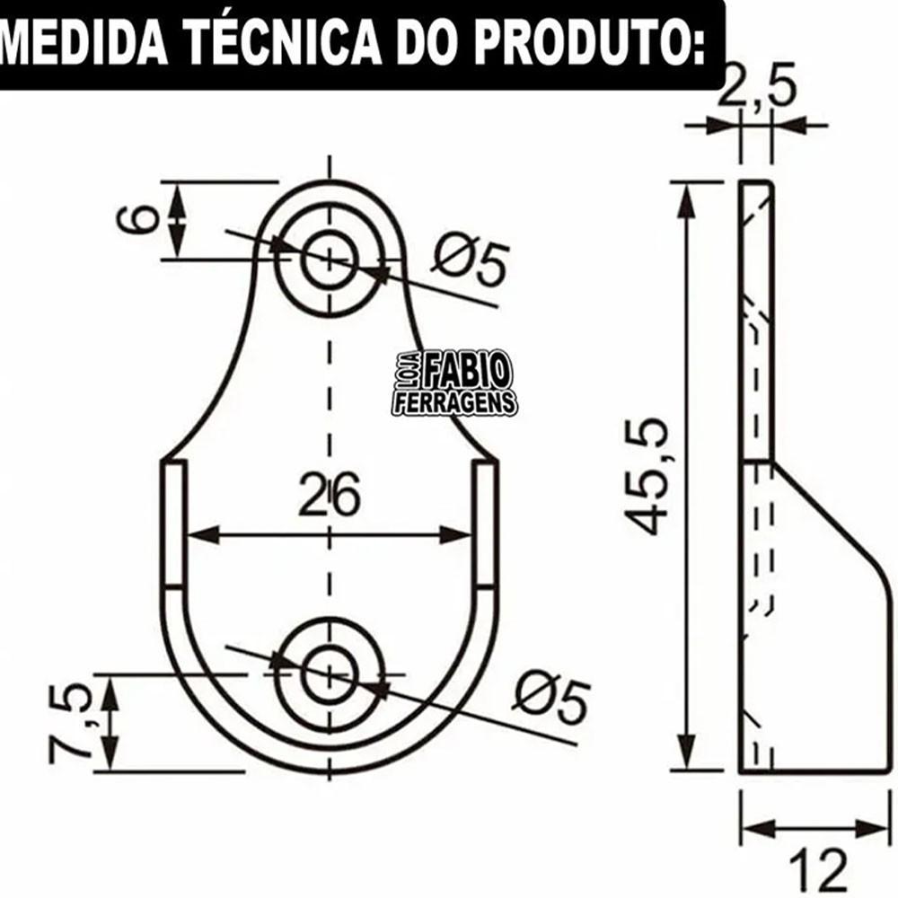 2 Suporte Lateral + 1 Suporte Central Para Tubo Redondo