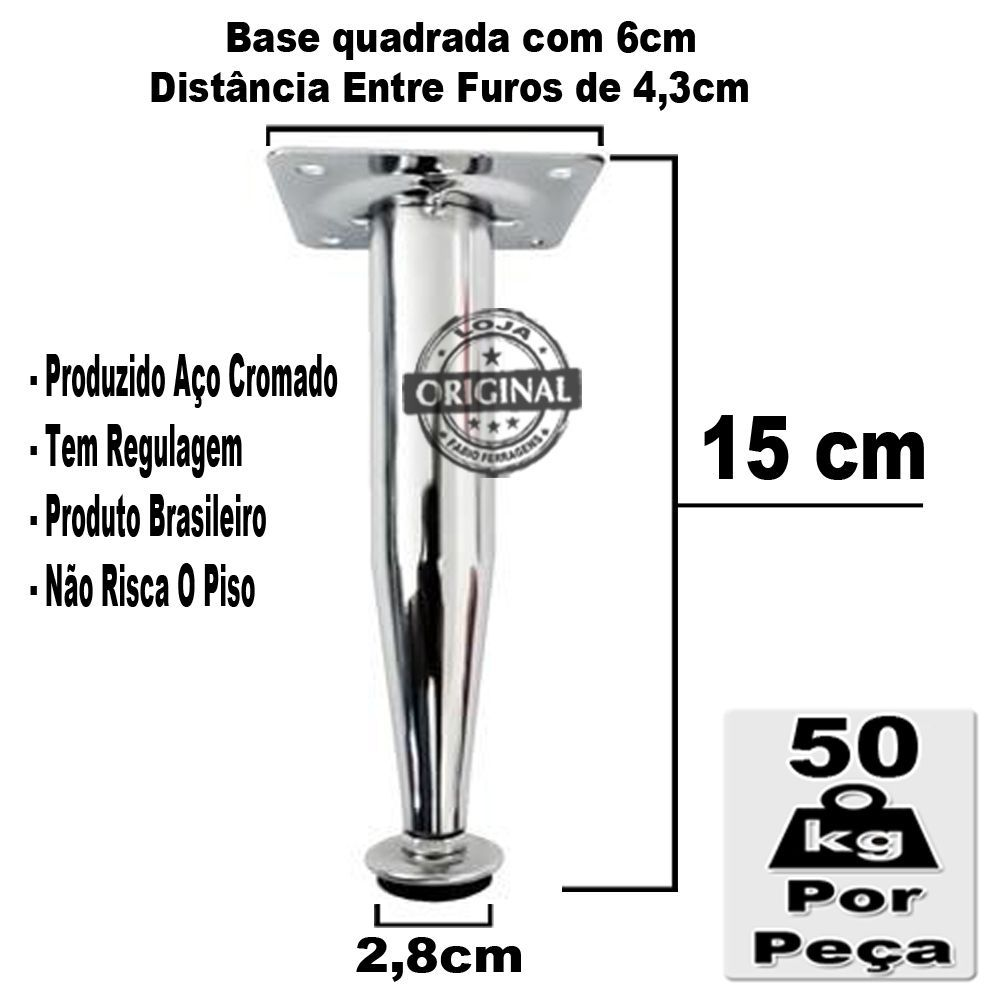 4 Peças - Pé Cônico Em Aço Cromado de 15cm Para Móveis