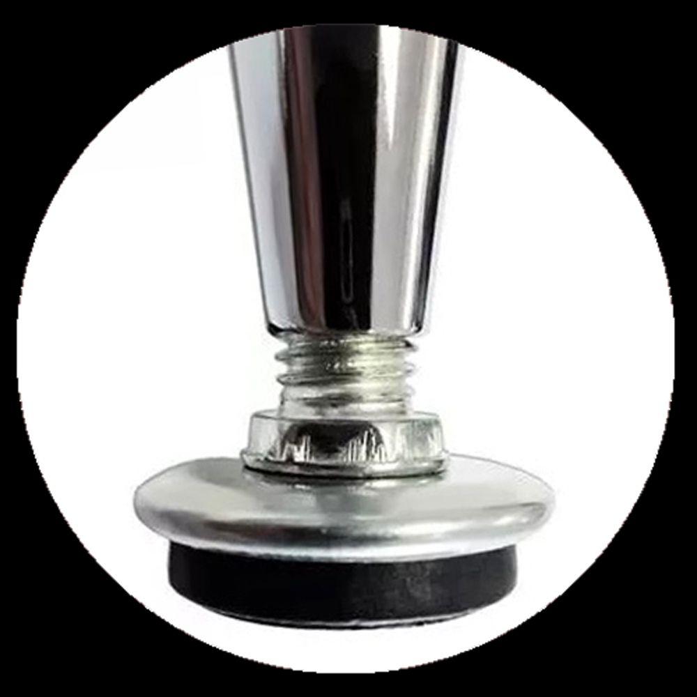 6 Peças - Pé Cônico Em Aço Cromado de 10cm Para Móveis