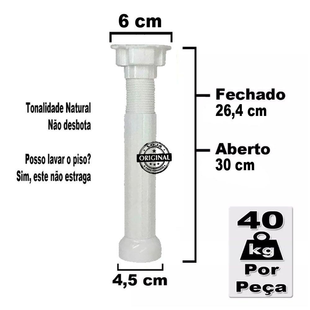 6 Peças - Pé Para Armario / Gabinete Branco  Com Regulagem De 26,4 a 30 Cm Com Parafuso