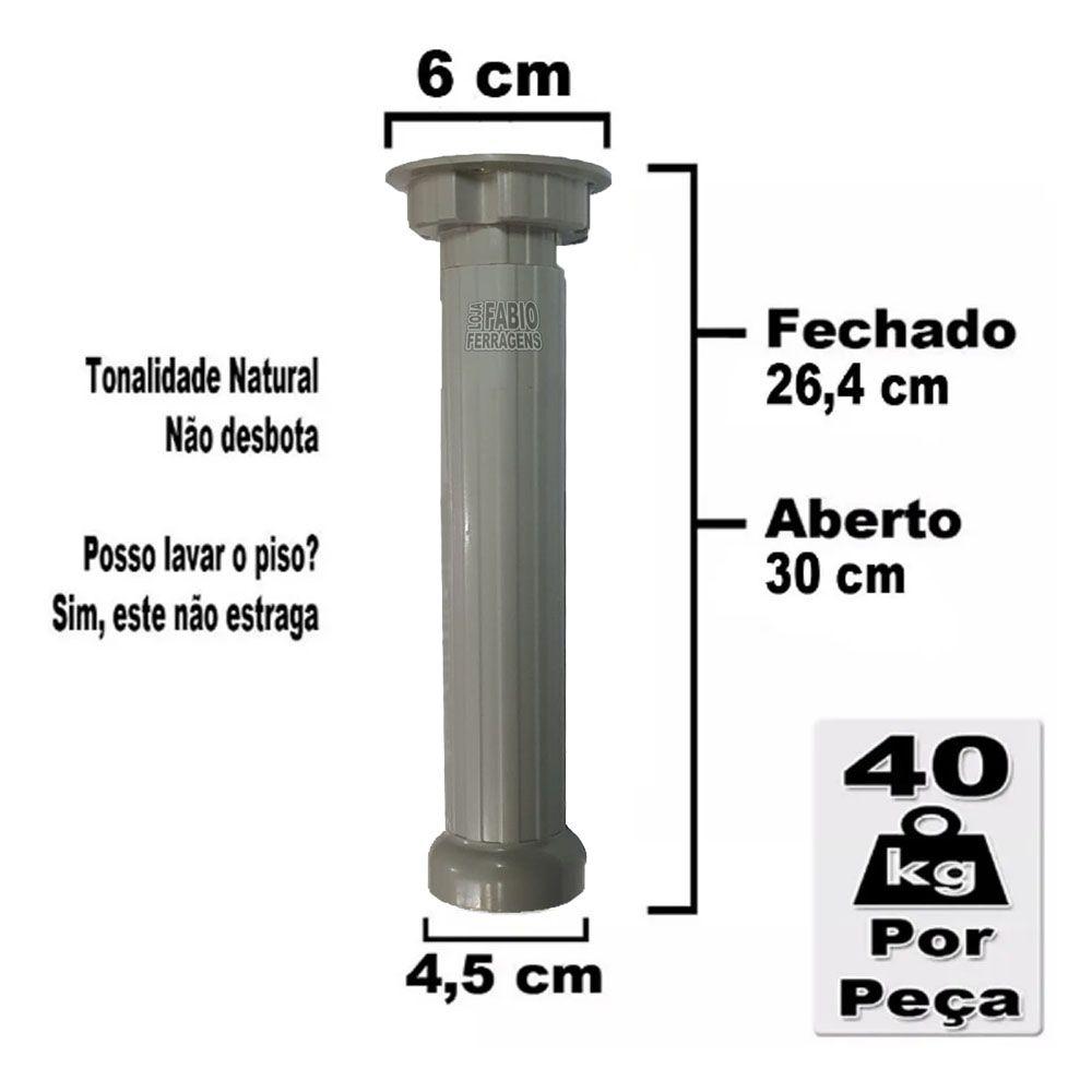6 Peças - Pé Para Armario / Gabinete Cinza Com Regulagem De 26,4 a 30 Cm Com Parafuso