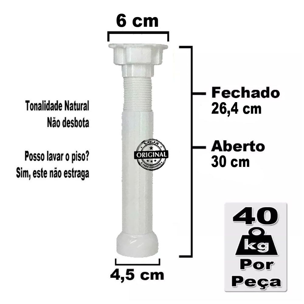 8 Peças - Pé Para Armario / Gabinete Branco  Com Regulagem De 26,4 a 30 Cm Com Parafuso