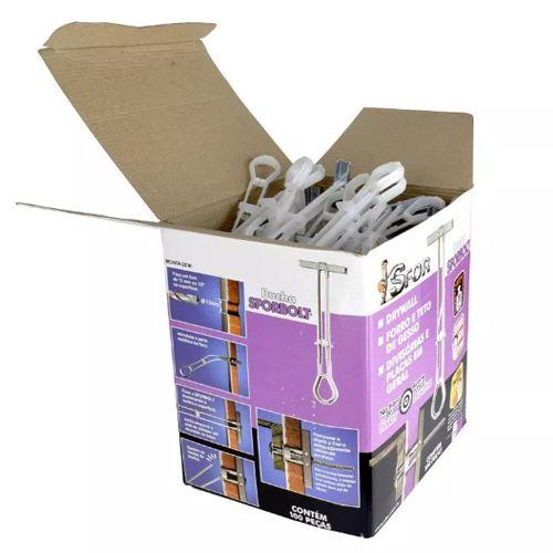 Caixa Com 100 Unidades De Bucha Para Gesso Drywall SforBolt 1/4