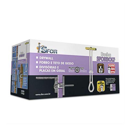 """Caixa Com 50 Unidades De Bucha Para Gesso Drywall SforBolt 1/4""""  - Suporta 20 kg"""