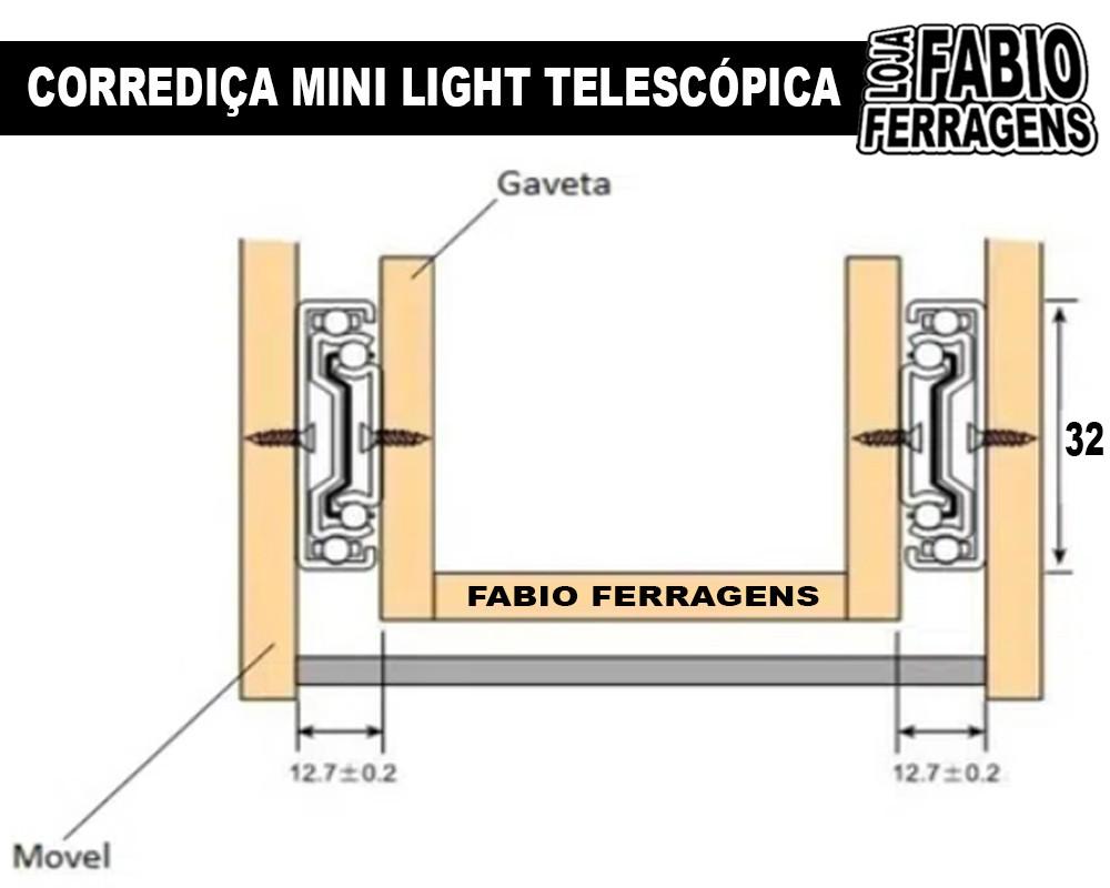 Caixa De Corrediça Mini Light Para Gaveta de 400mm / 40cm - 30 Pares