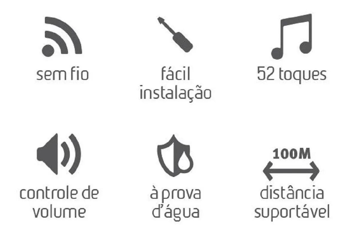 Campainha Branca Wireless Sem Fio Bivolt Casa / Empresa