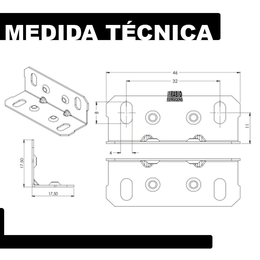 Cantoneira 17,5x17,5x46mm Zincada Gaveta Nicho Armário - 100 Peças