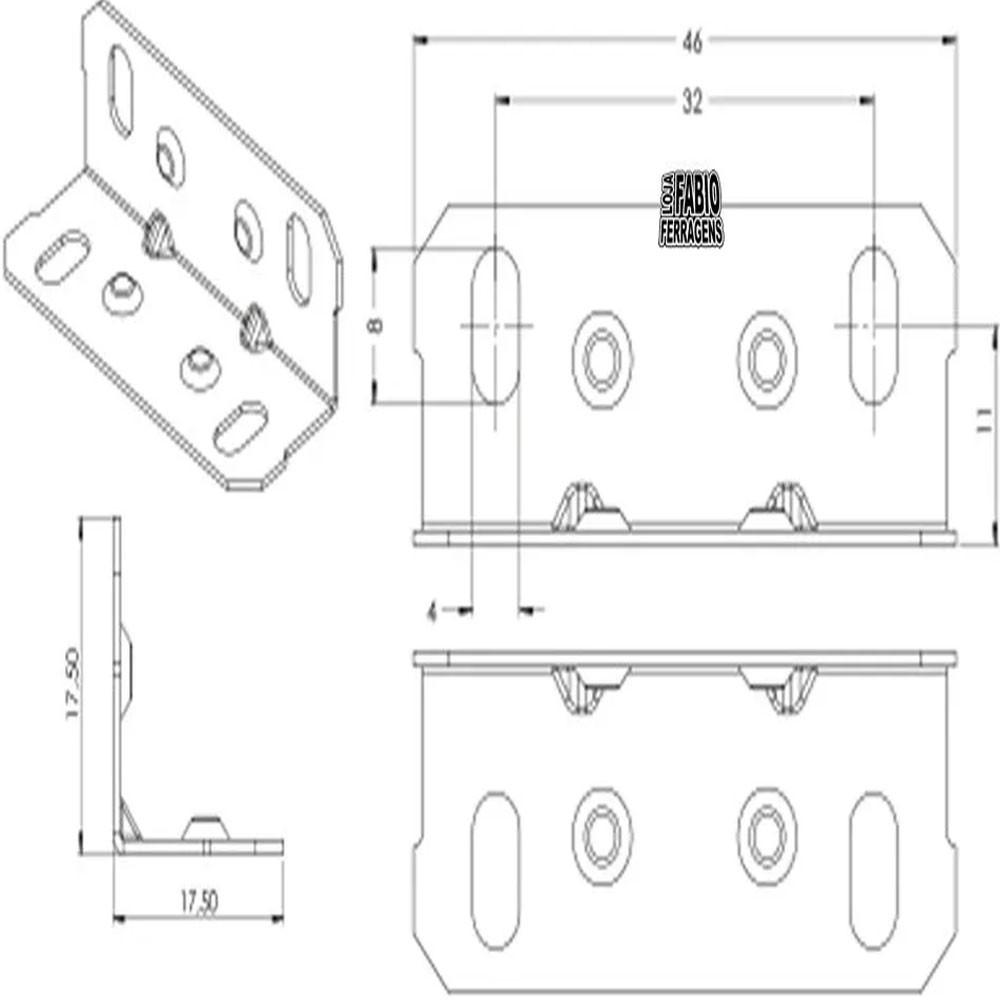 Cantoneira Para Moveis 17,5x17,5x46mm Zincada - Pacote Com 100 Peças