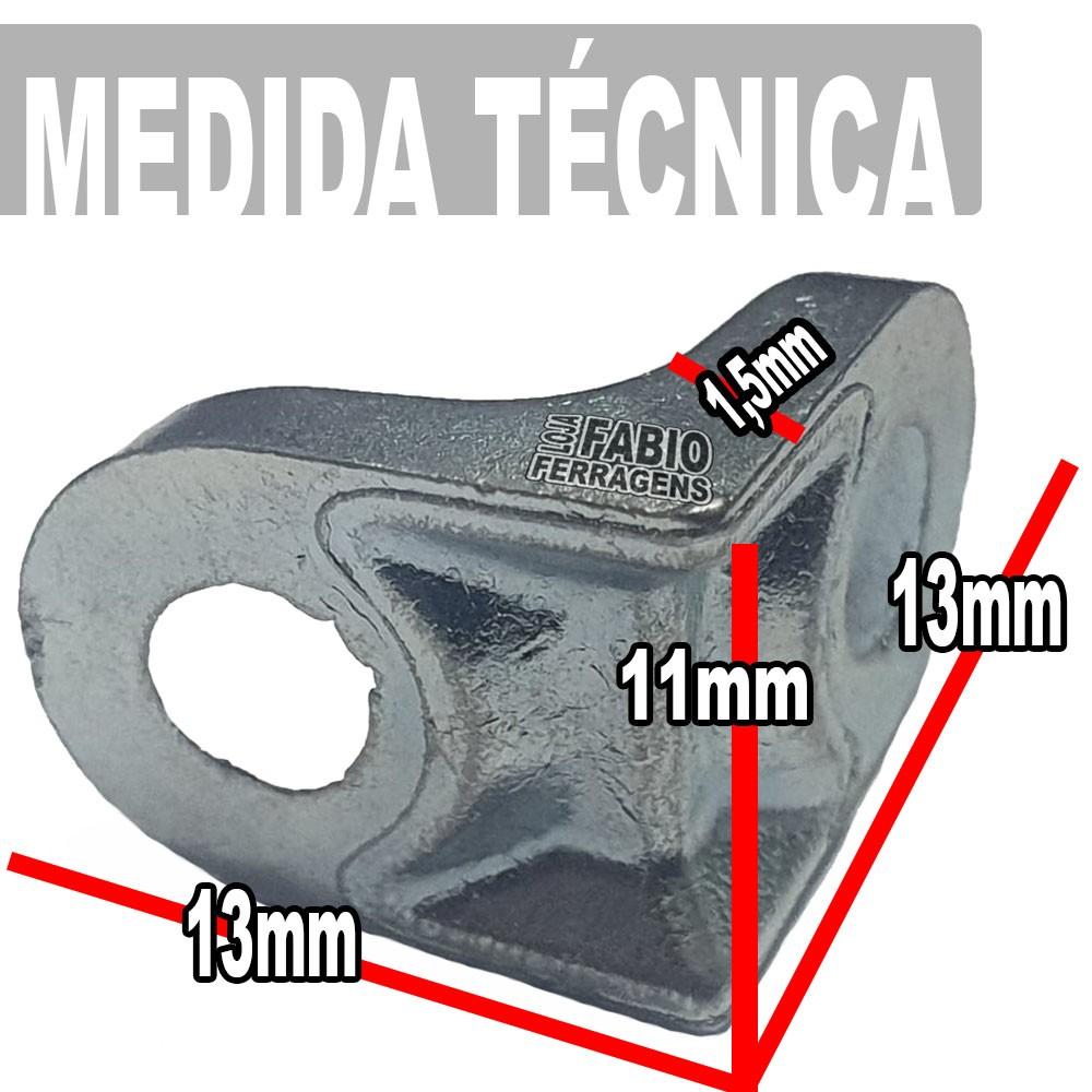 Cantoneira Para Moveis Aliviada Zincada 13x13mm - Pacote Com 100 Peças