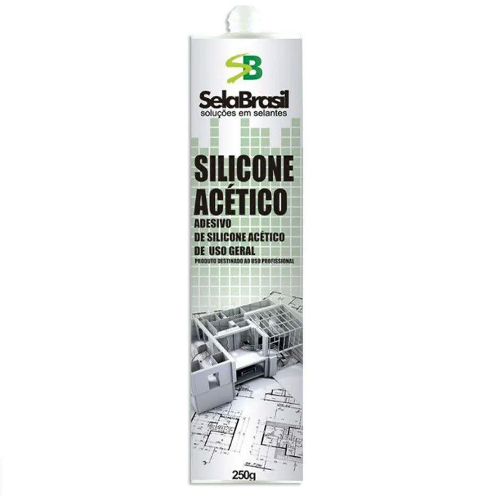 Cola Selante Silicone Acético Branco De 250 Gramas - Sela Brasil