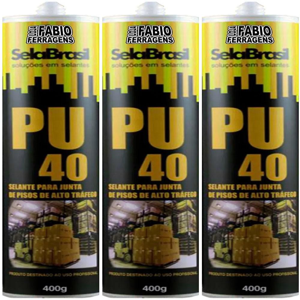 Kit C/3 Tubos - Selante Cola Pu 40 Branca 400 Gramas