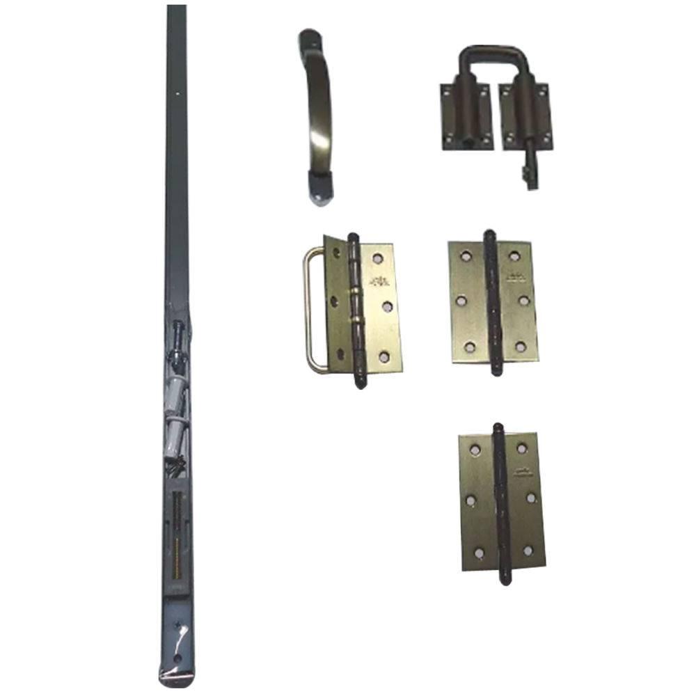 Kit Trilho Para Porta Camarão Completo (trilho, puxador, fecho e dobradiça) Ouro Velho