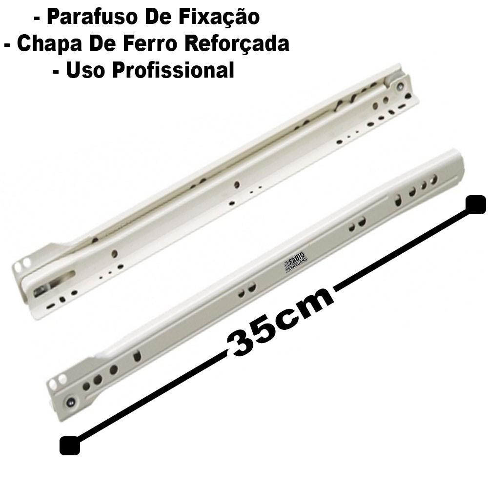 Corrediça Branca Para Gaveta de 35cm - 2 Pares
