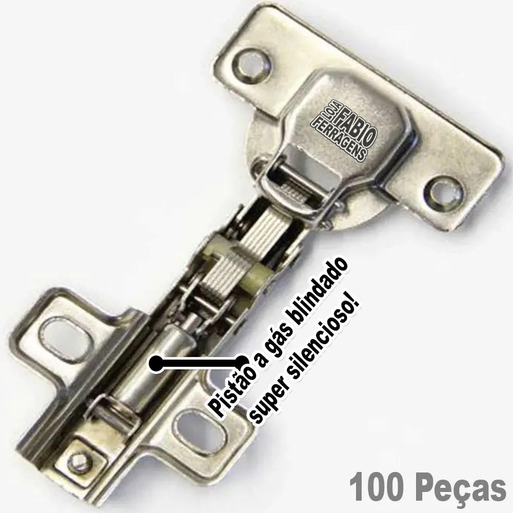 Dobradiça Com Amortecedor Para Móveis De 35mm Curva / Alta - 100 Peças