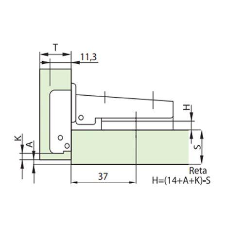 Dobradiça Para Móveis De Madeira Mini Al2 26mm Reta / Baixa