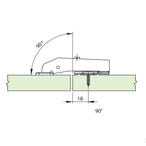 Dobradiça De Pressão Para Móveis De 35mm 90º Abertura de 95º Com Parafusos
