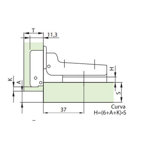Dobradiça De Pressão Para Móveis De 35mm Curva / Alta Com Parafusos