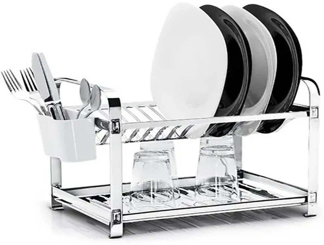 Escorredor De Louça Aço Inox 100% | Porta Talher Plastico | 12 Pratos