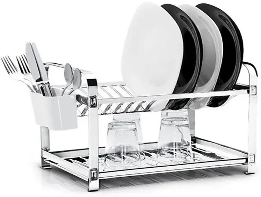 Escorredor De Louça Aço Inox 100% | Porta Talher Plastico | 16 Pratos