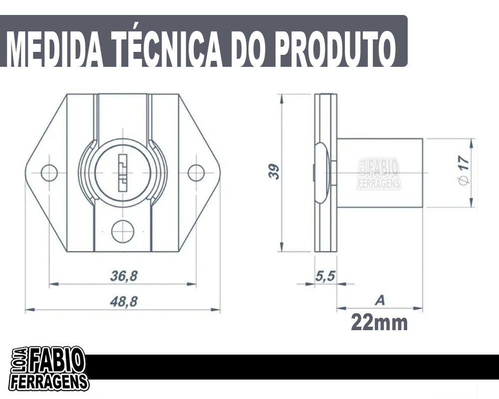 Fechadura Para Gaveta De 22mm - 12 Peças