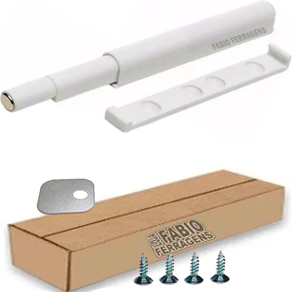 Fecho Pulsador Branco Magnético Para Móveis - 8 Peças
