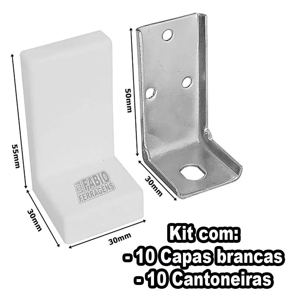 Kit 10 - Cantoneira Reforçada Com Capa Branca