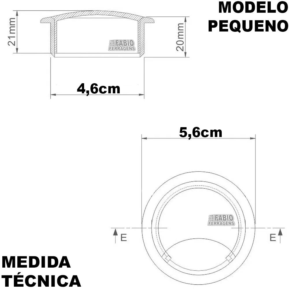 kit 10 - Passa Fio Para Móveis Com Diâmetro de 46 mm Preto