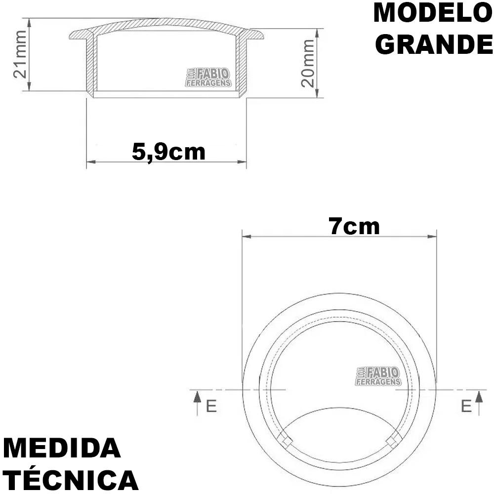 Kit 10 - Passa Fio Para Móveis Com Diâmetro de 59 mm Preto