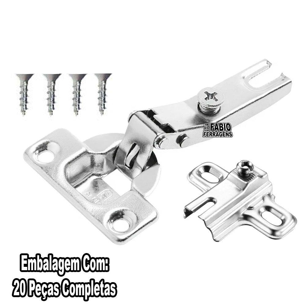Kit 20 Peças - Dobradiça Para Móveis Mini Al2 26mm Curva / Alta