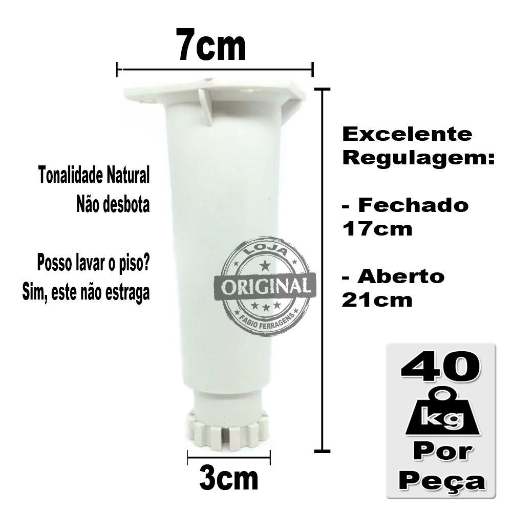 Kit 2 Peças - Pé Branco Para Móveis Itatiaia De 17 a 21 cm Genérico