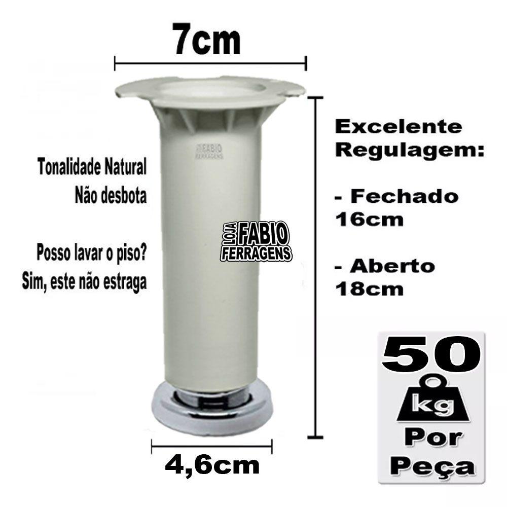 kit 2 - Pé Branco Para Móveis Para Móveis Aço Itatiaia De 16 a 18cm Com Regulagem Genuíno