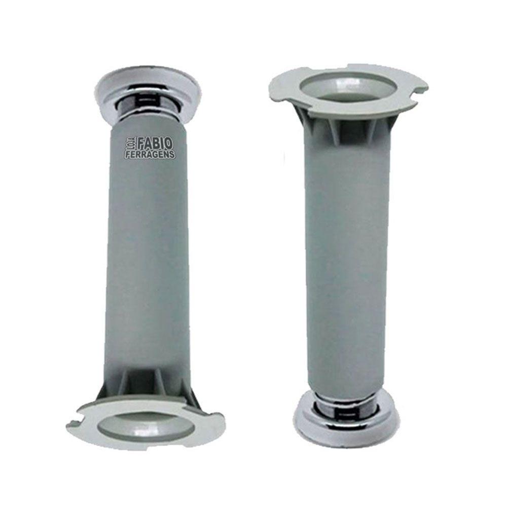 kit 2 - Pé Cinza Para Móveis Para Móveis Aço Itatiaia De 16 a 18cm Com Regulagem Genuíno