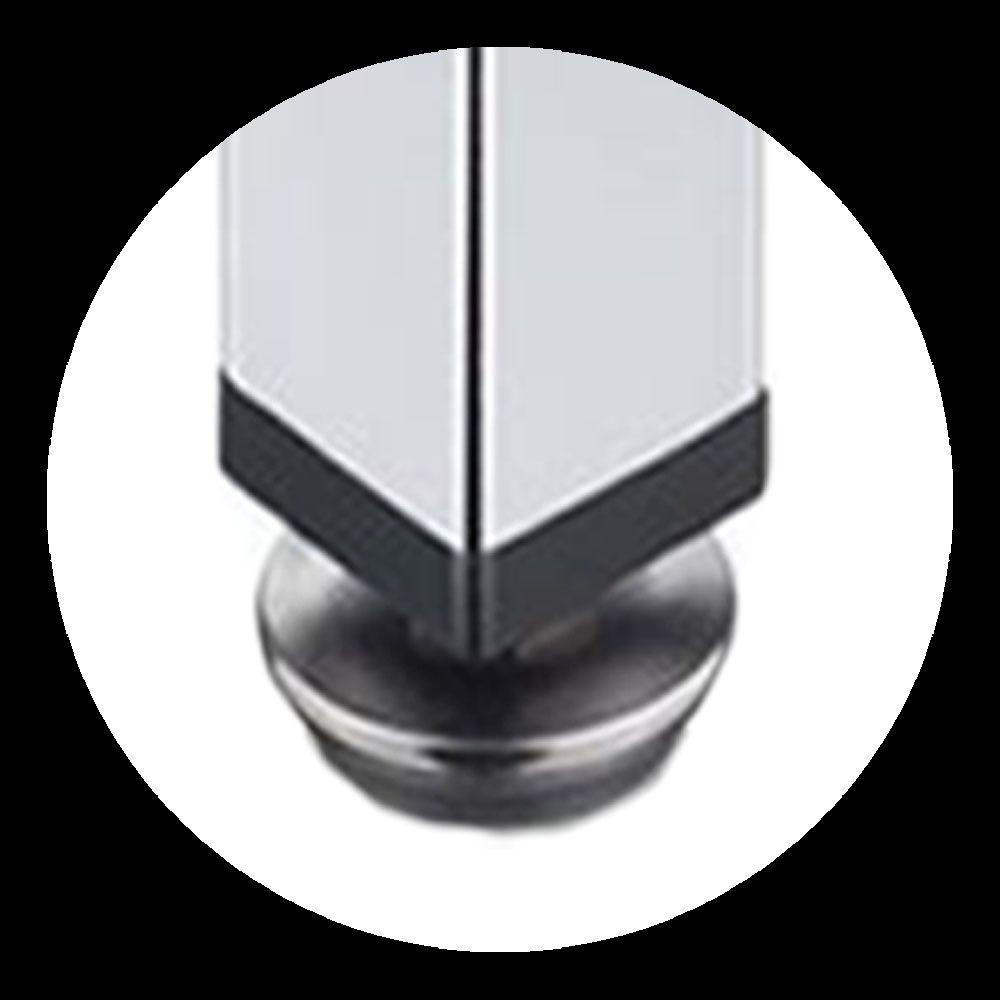 Kit 2 Peças - Pé Quadrado Em Aço Cromado de 10cm Para Móveis