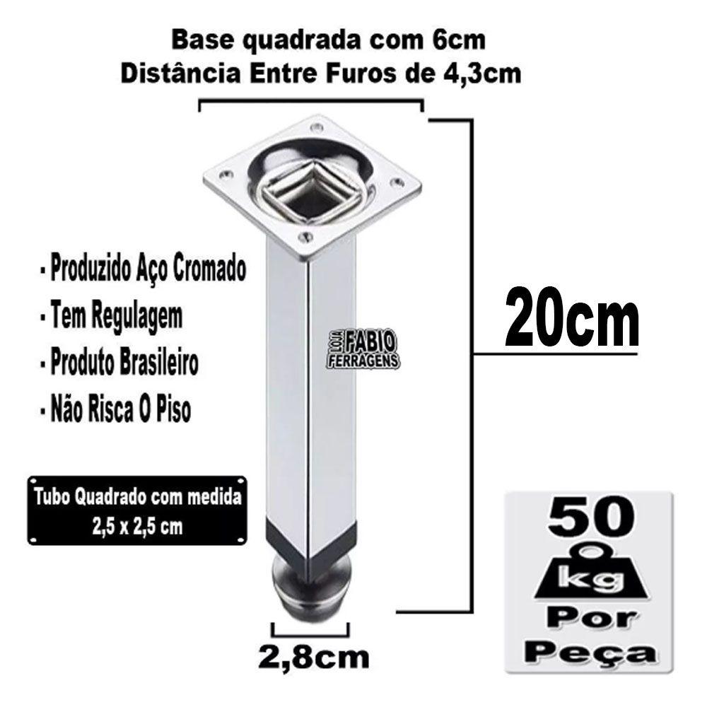 Kit 2 Peças - Pé Quadrado Em Aço Cromado de 20cm Para Móveis