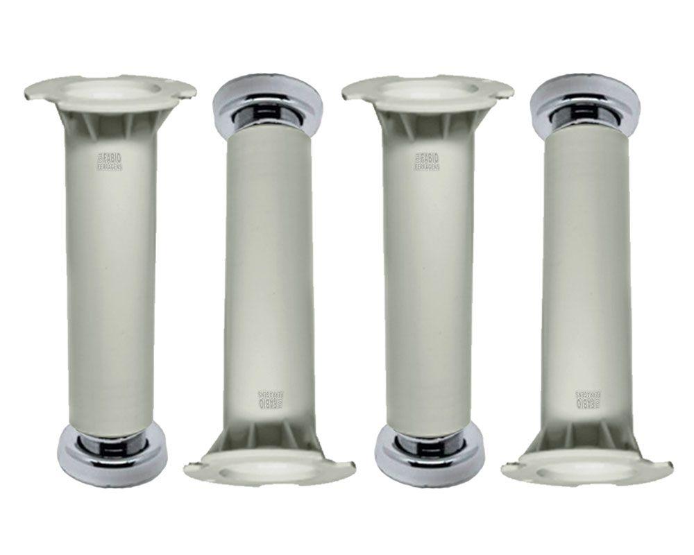 kit 4 - Pé Branco Para Móveis Para Móveis Aço Itatiaia De 16 a 18cm Com Regulagem Genuíno