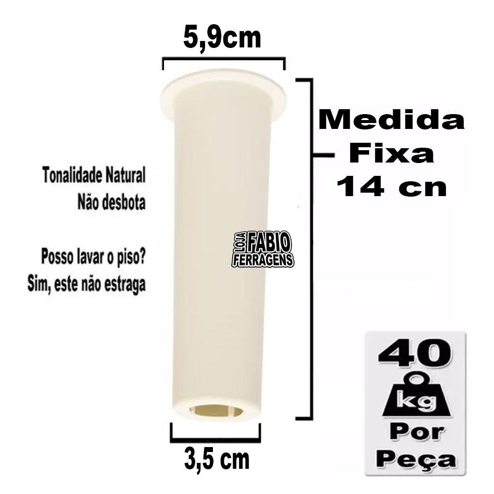 Kit 4 Peças - Pé Daca Para Armário / Gabinete Branco Com 14 cm Fixo