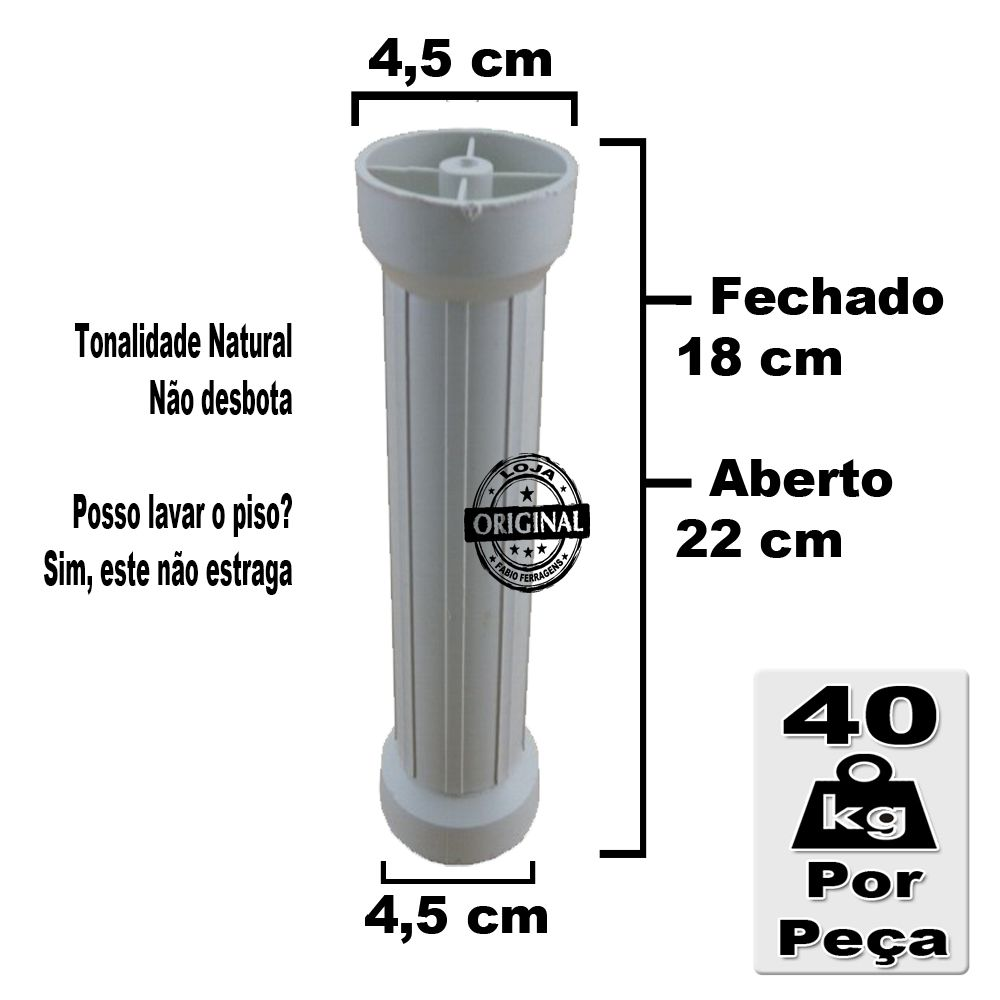 Kit 4 Peças - Pé Para Armario / Gabinete Branco Com Regulagem De 18 a 22 Cm Com Parafuso