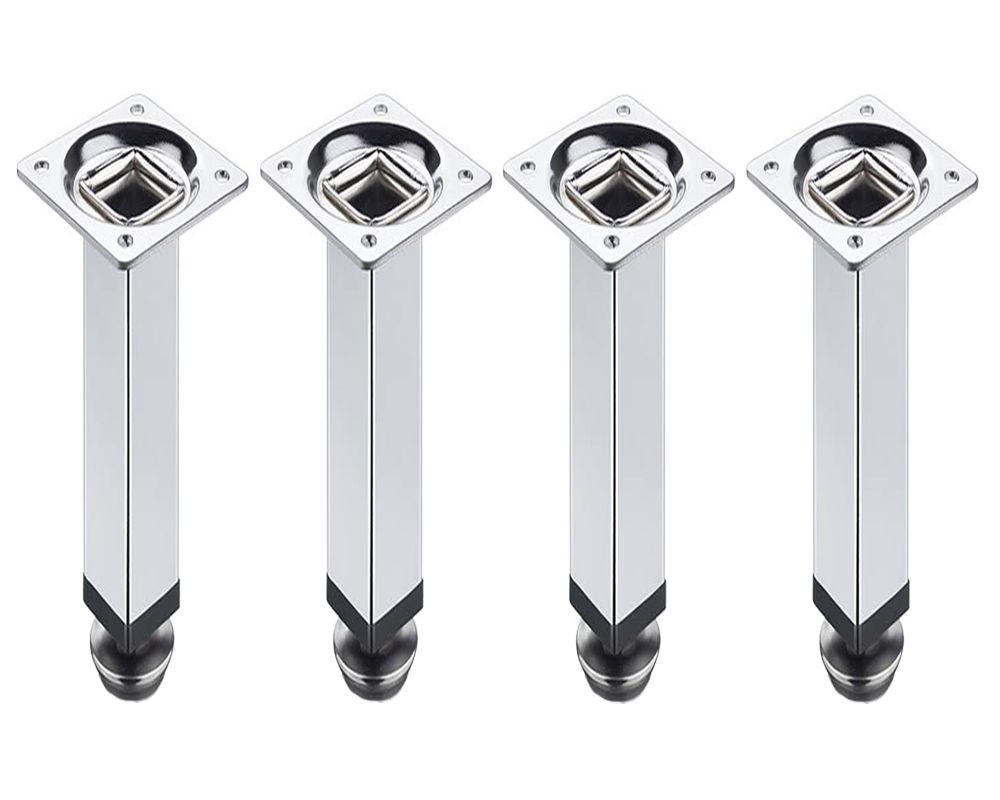 Kit 4 Peças - Pé Quadrado Em Aço Cromado de 10cm Para Móveis