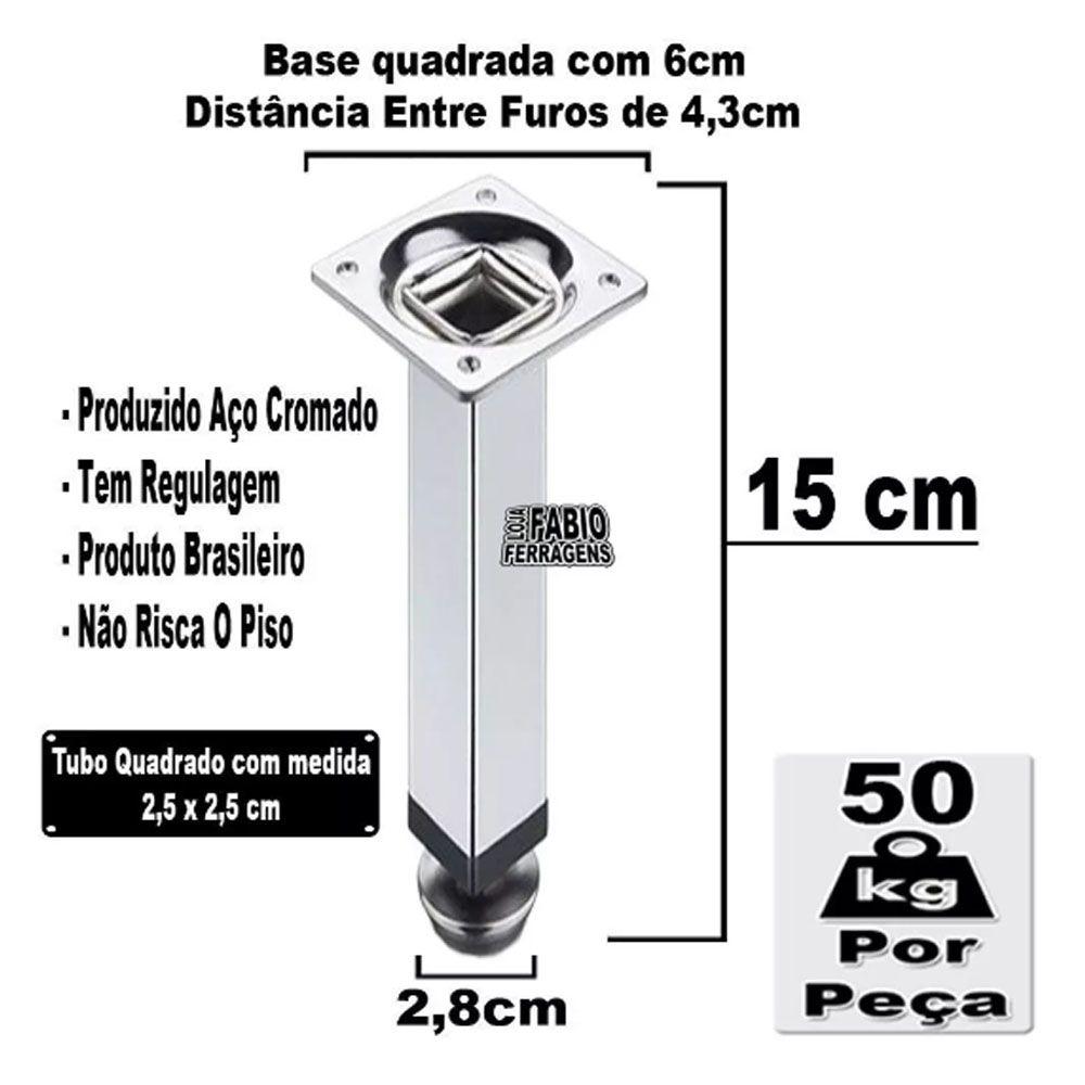 Kit 4 Peças - Pé Quadrado Em Aço Cromado de 15cm Para Móveis