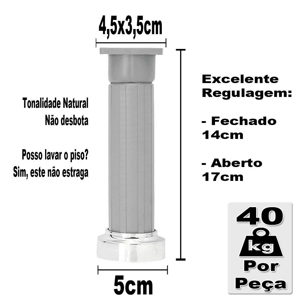 kit 6 - Pé Para Gabinete Cinza Com Regulagem De 14 a 17 Cm Com Parafuso